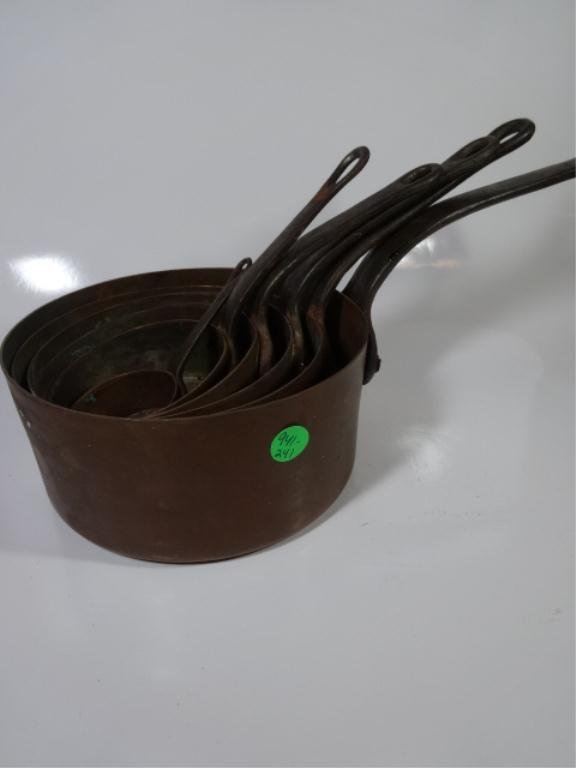 "6 COPPER POTS SOLD TOGETHER, LARGEST APPROX 3.5"" X 7"","