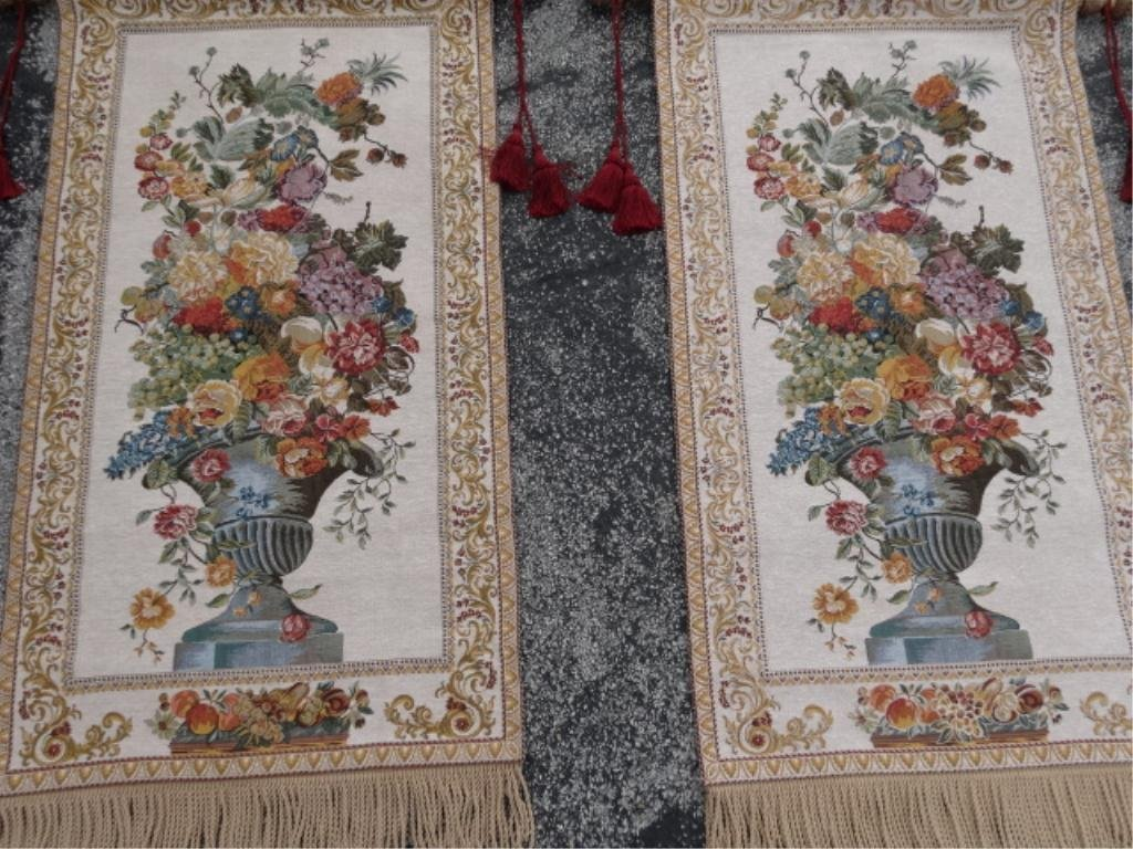PAIR TAPESTRY STYLE WALL HANGINGS ON WOOD RODS, WITH