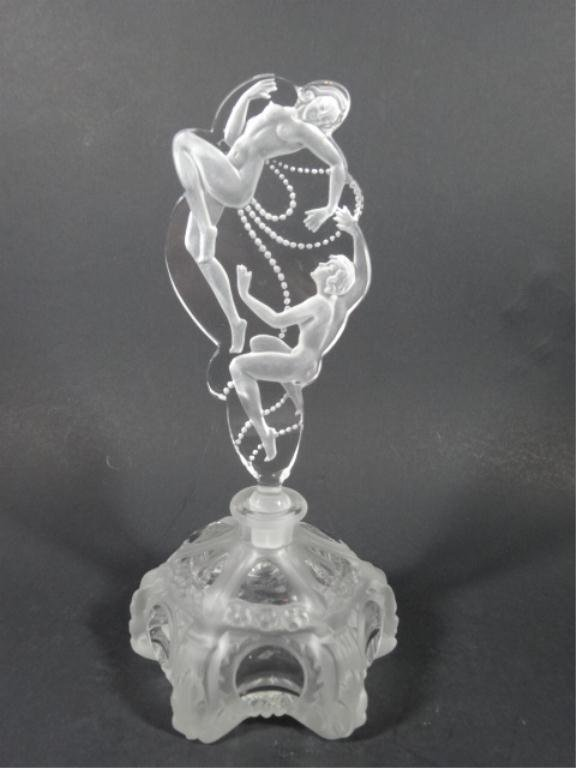 ETCHED CRYSTAL PERFUME BOTTLE WITH TWO NUDE WOMEN ON