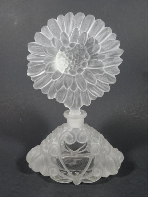 ETCHED CRYSTAL PERFUME BOTTLE, SUNFLOWER STOPPER,