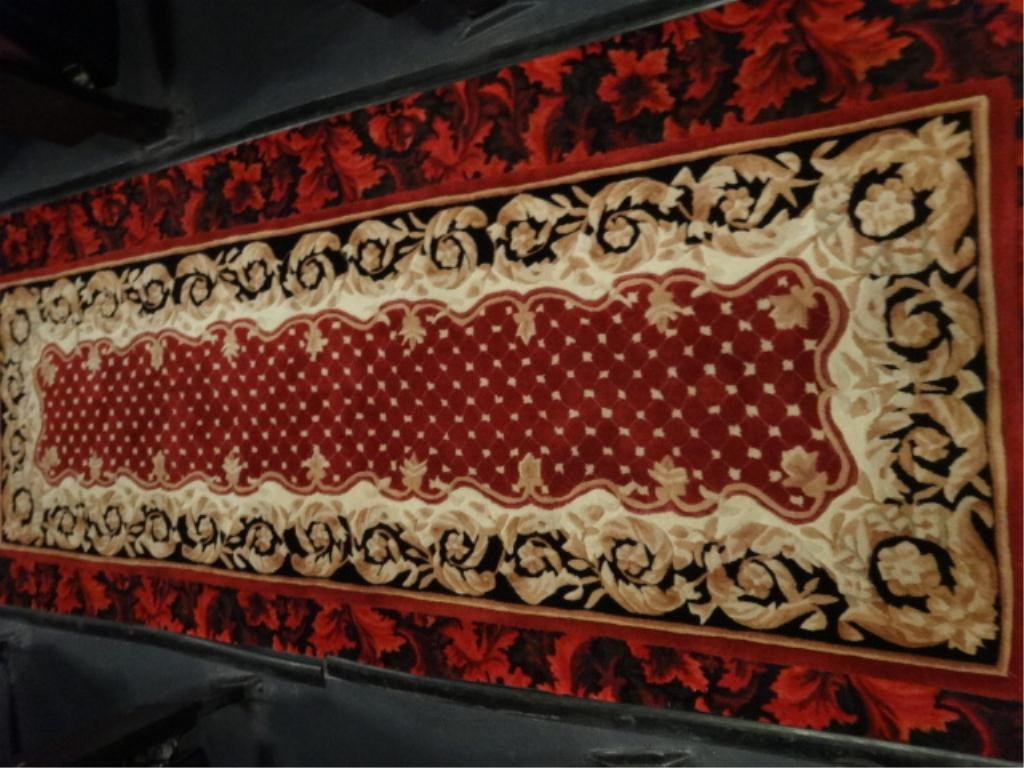 WOOL RUG RUNNER, RED, GOLD, AND BLACK, EXCELLENT