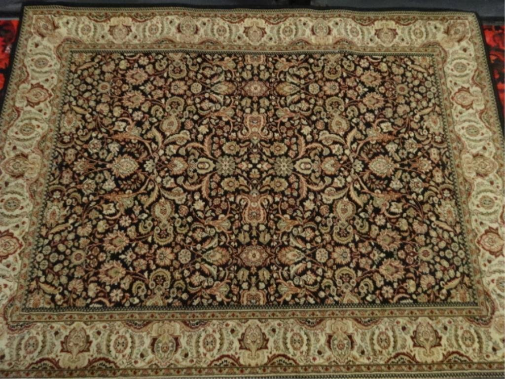 AREA RUG, MADE IN BELGIUM, BLACK AND GOLD WITH FLORALS,
