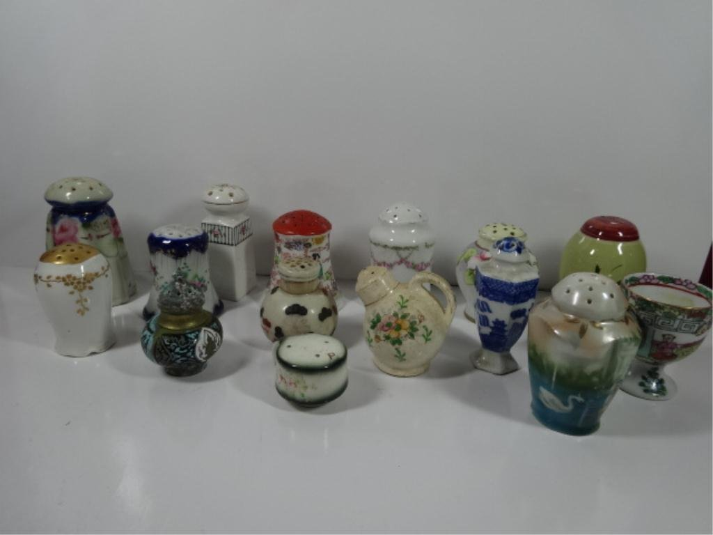 15 PC GROUP LOT SINGLE SALT OR PEPPER SHAKERS,