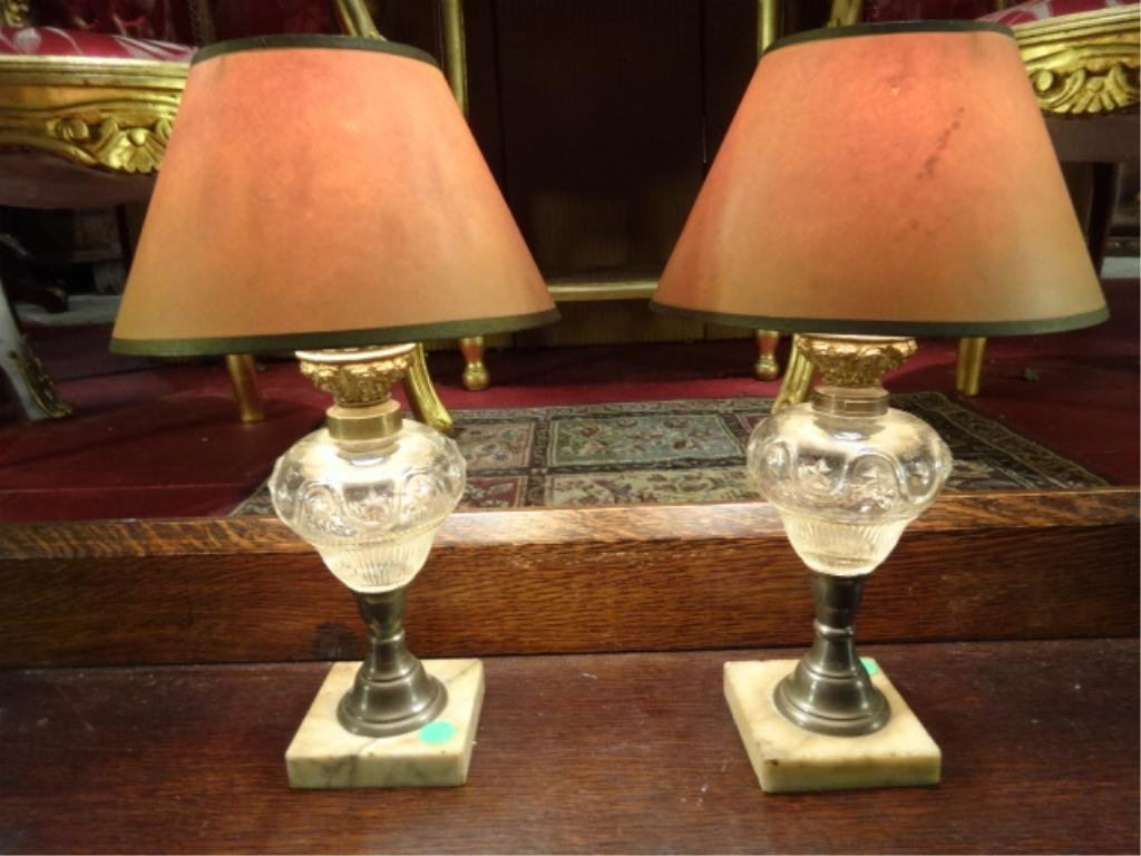 PAIR ANTIQUE OIL LAMPS COVERTED TO ELECTRIC, APPROX