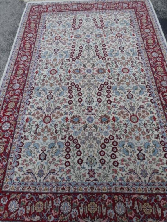 TURKISH HEREKE SIGNED WOOL RUG, FINELY KNOTTED, IVORY