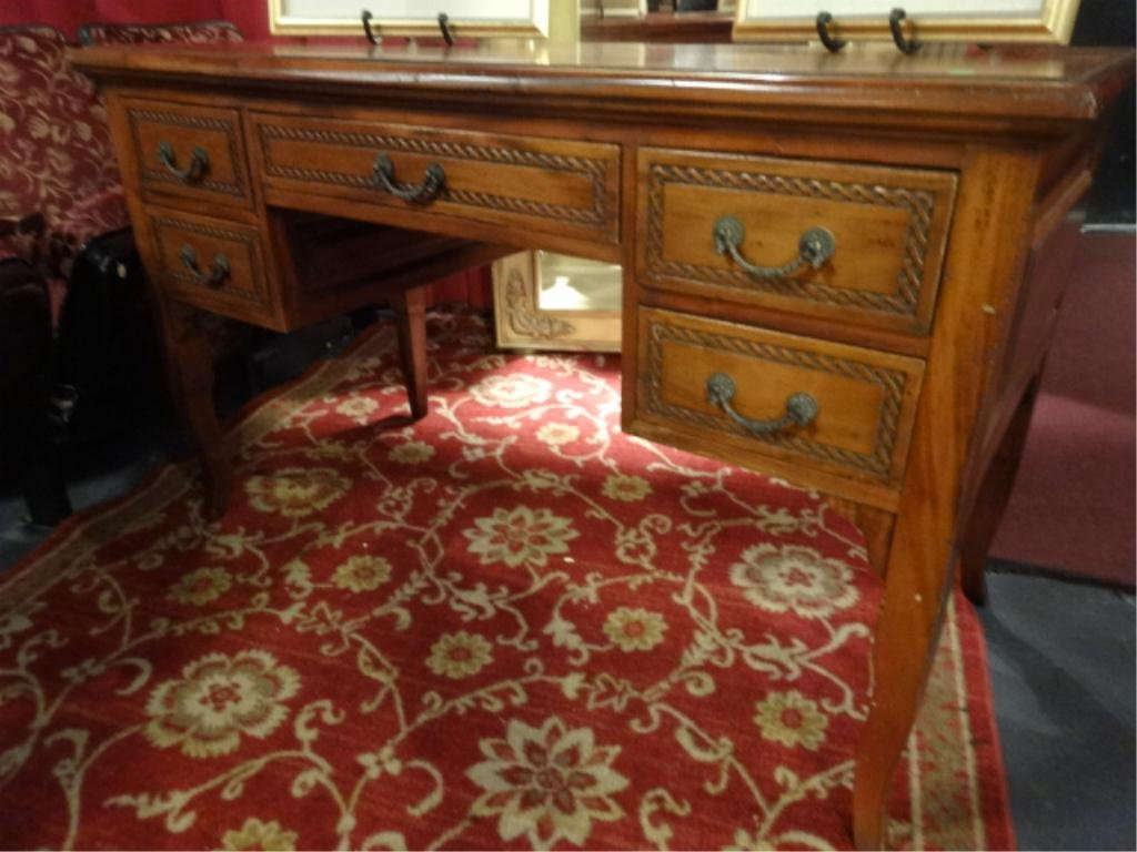 """CARVED WOOD 5 DRAWER DESK, APPROX 4' X 2.5' X 30"""""""