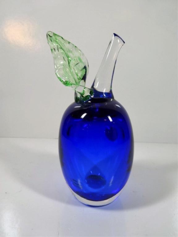 A. JABLONSKI ART GLASS PLUM, SIGNED AND LABELED, BLUE