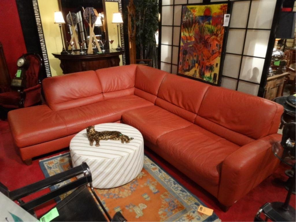 LEATHER SECTIONAL SOFA BY ITALSOFA, TERRA COTTA COLOR