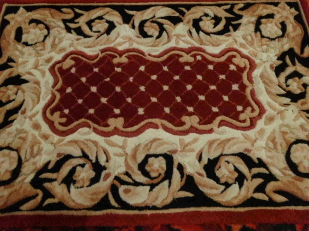 SMALL WOOL RUG, RED, GOLD AND BLACK, APPROX 1.5' X