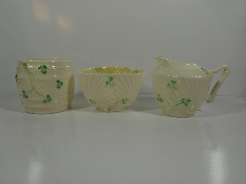 3 PC BELLEEK IRISH PORCELAIN, INCLUDES SHAMROCK CREAMER