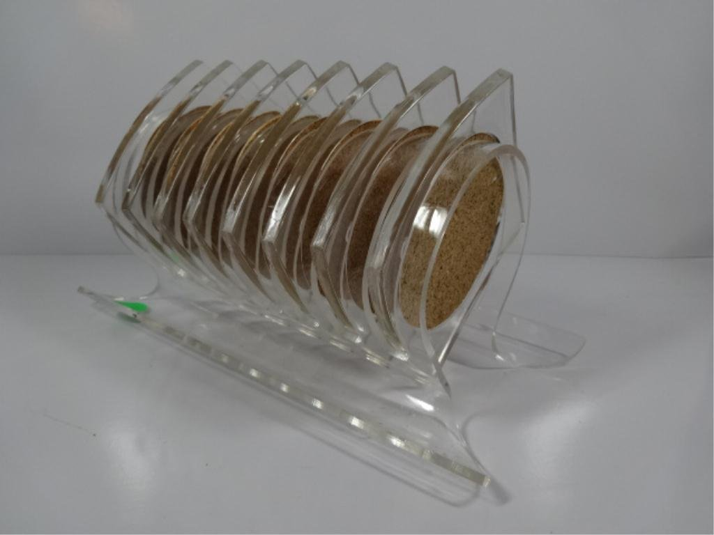 9 PC ACRYLIC COASTER SET, WITH CORK INSERTS, INCLUDES 8