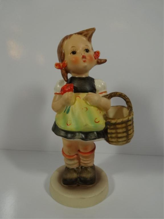GOEBEL PORCELAIN GIRL WITH BASKET FIGURINE, APPROX