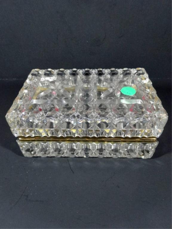 FRENCH CUT CRYSTAL BOX WITH LID, BRASS RIM, RECTANGULAR