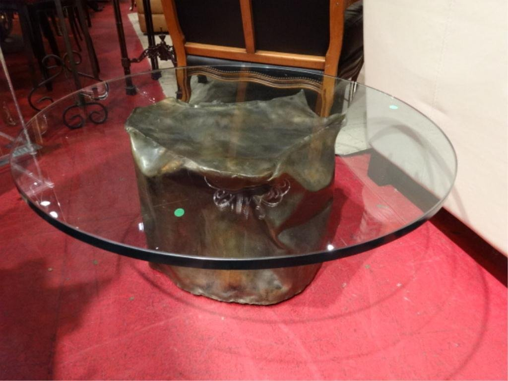 SILAS SEANDEL BRONZE TABLE, SIGNED SILAS, ABSTRACT