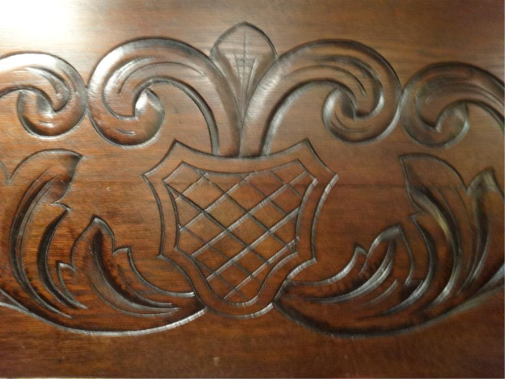 CARVED WOOD BENCH/CONSOLE, CONVERTS TO TABLE WITH FLIP - 2
