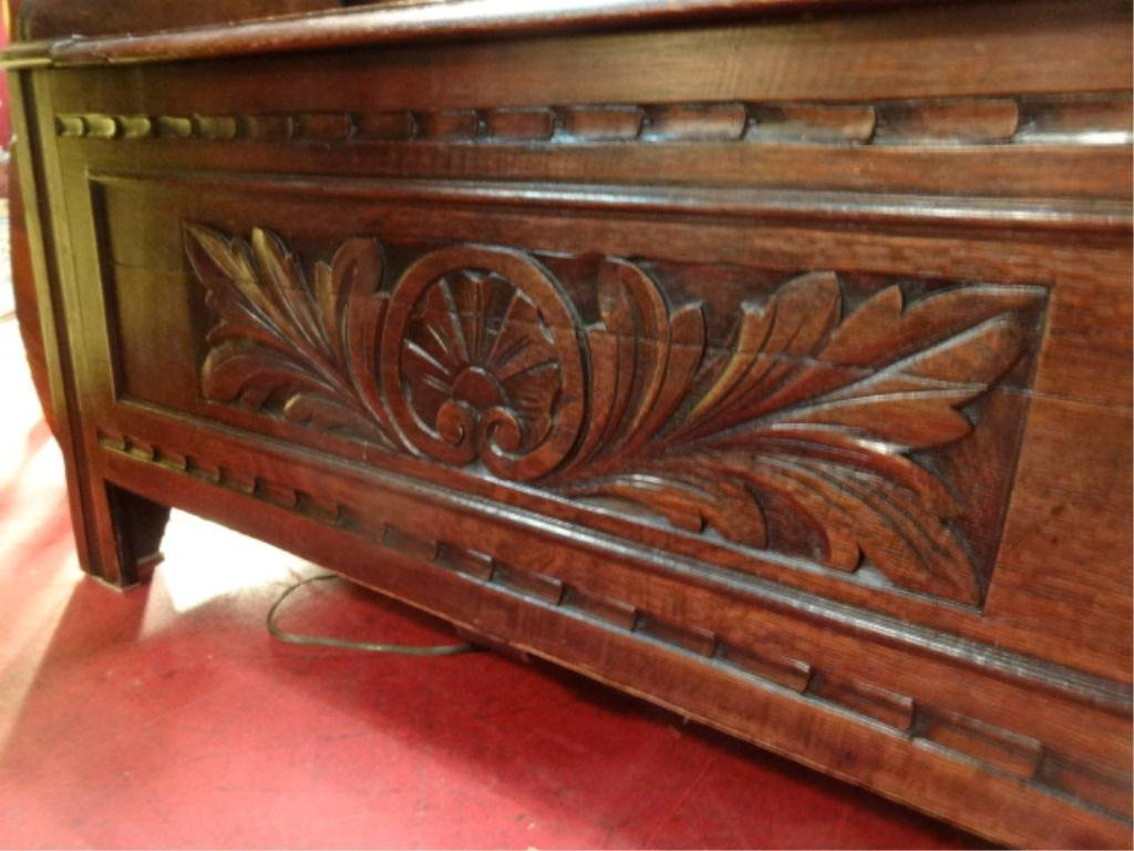CARVED WOOD BENCH/CONSOLE, CONVERTS TO TABLE WITH FLIP - 3