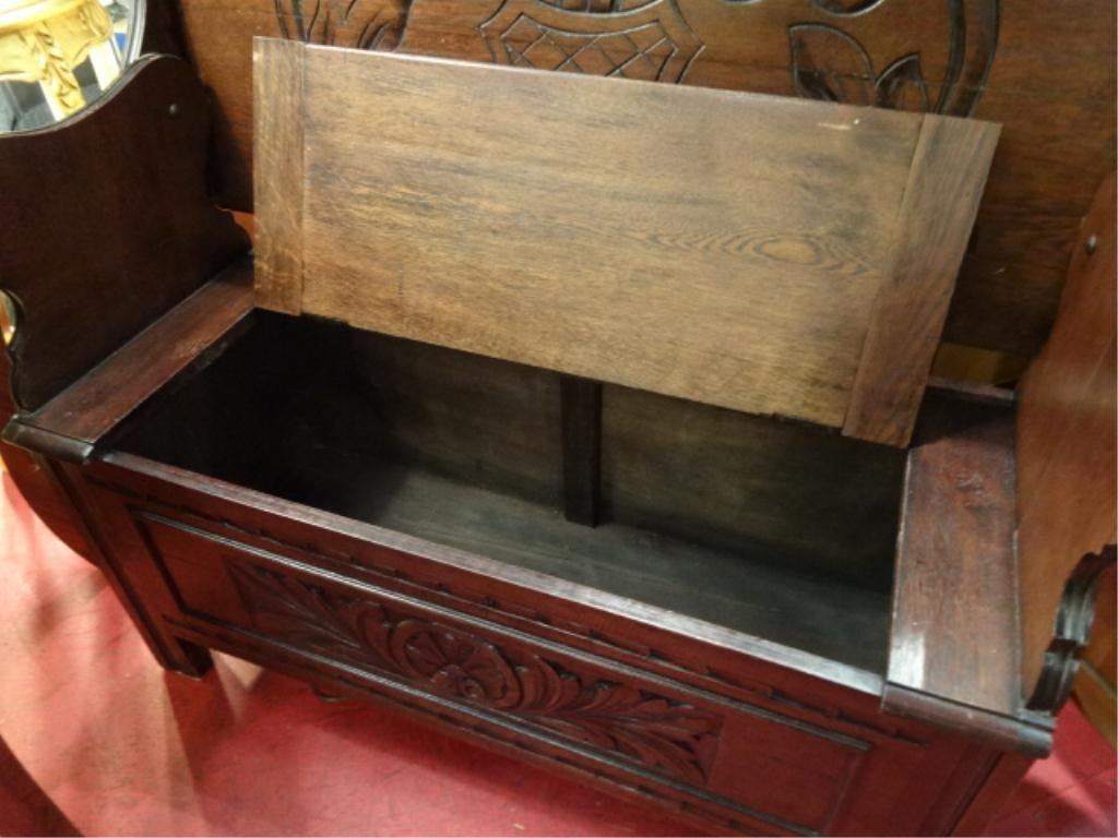 CARVED WOOD BENCH/CONSOLE, CONVERTS TO TABLE WITH FLIP - 5