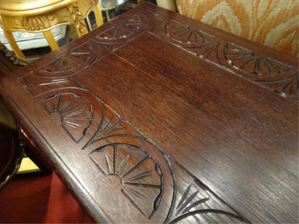 CARVED WOOD BENCH/CONSOLE, CONVERTS TO TABLE WITH FLIP - 7