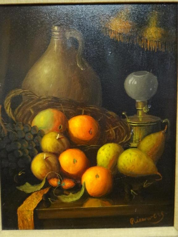 OIL PAINTING ON CANVAS, STILL LIFE WITH FRUIT, SIGNED - 3