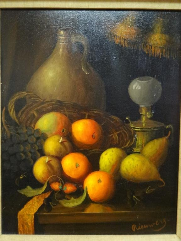 OIL PAINTING ON CANVAS, STILL LIFE WITH FRUIT, SIGNED - 4