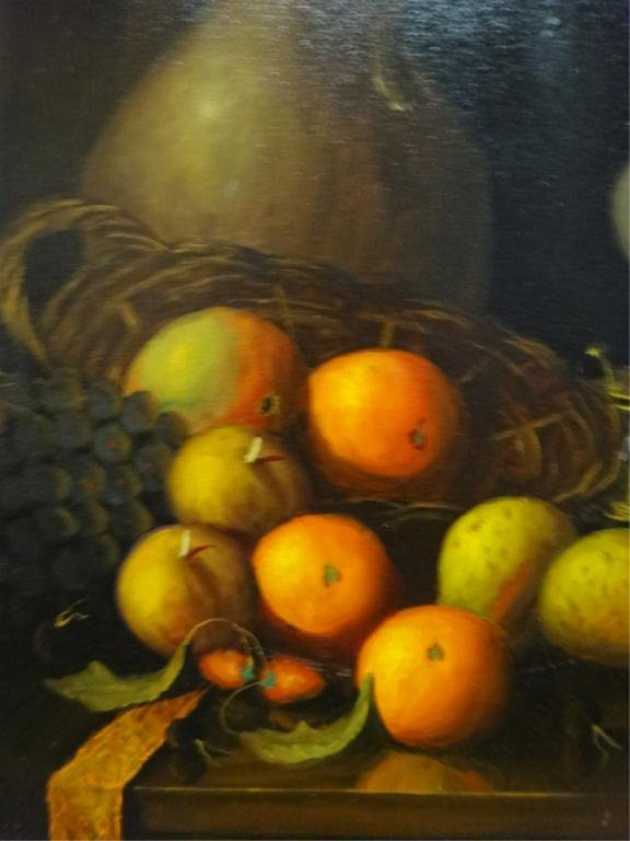 OIL PAINTING ON CANVAS, STILL LIFE WITH FRUIT, SIGNED - 5