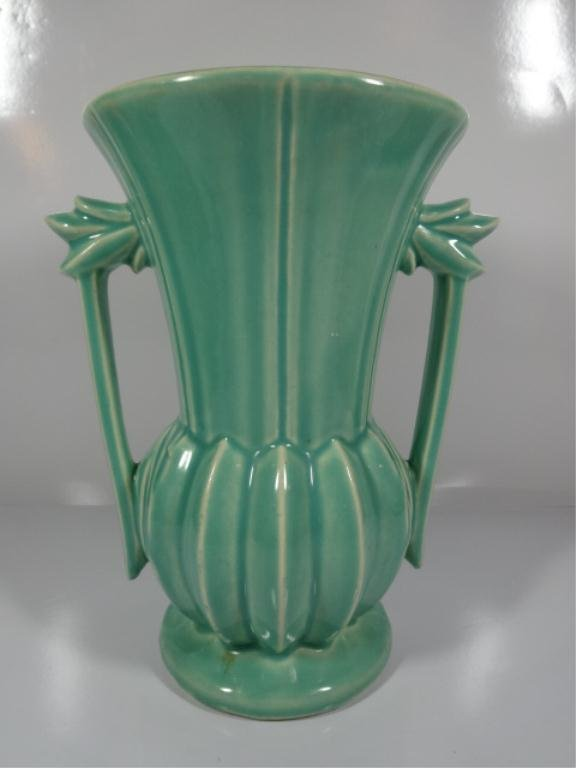 """GREEN MCCOY POTTERY TWO-HANDLED VASE, APPROX 9""""H,"""