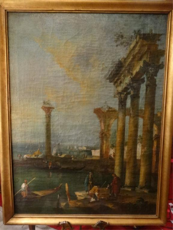 HUGE ANTIQUE OIL PAINTING ON CANVAS, SCHOOL OF