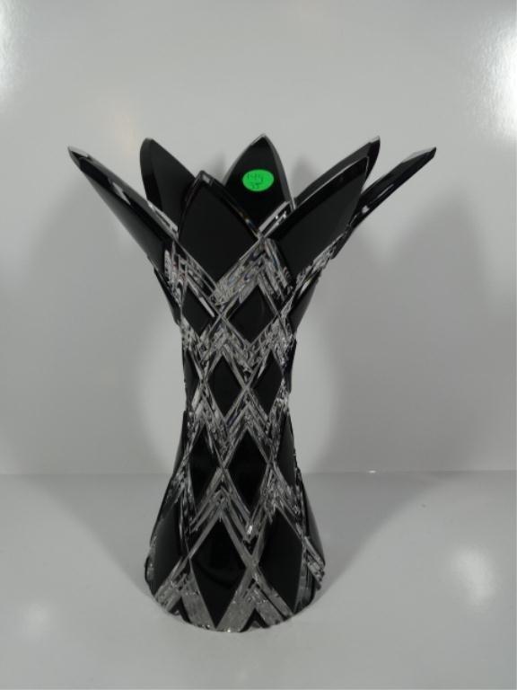 CAESAR CRYSTAL BOHEMIA BLACK CUT TO CLEAR ART GLASS