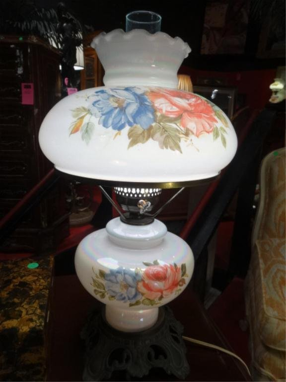 PAINTED GLASS HURRICANE LAMP, FLORAL PAINTED GLOBES, 2
