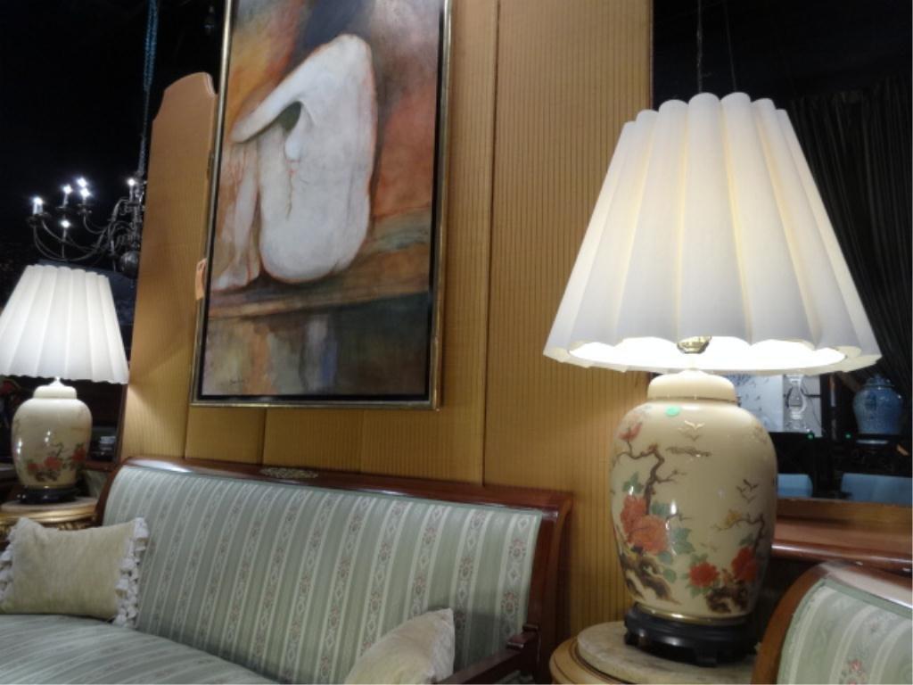 PAIR ORIENTAL GINGER JAR STYLE LAMPS, PAINTED PORCELAIN