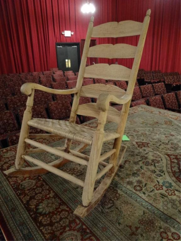 ANTIQUE STOTTLEMYER LADDERBACK ROCKING CHAIR, 19TH