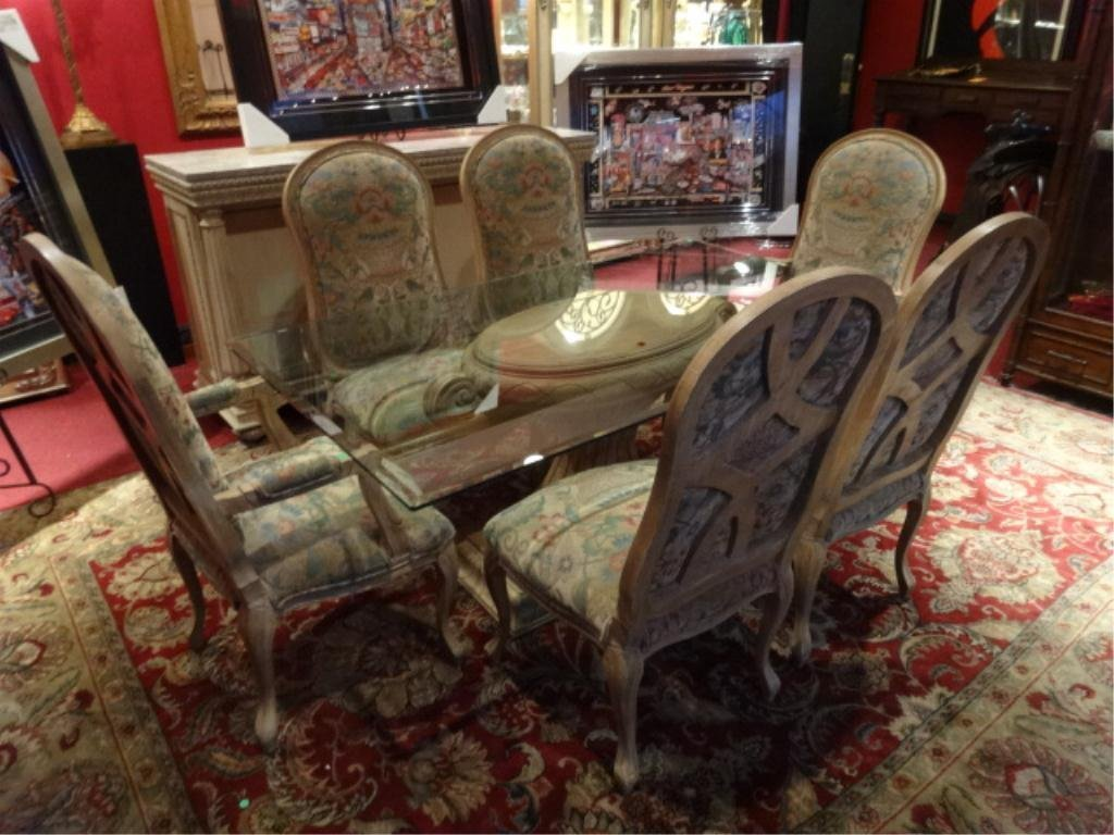 ORNATE DINING TABLE AND 6 CHAIRS, URN SHAPE PEDESTAL BA