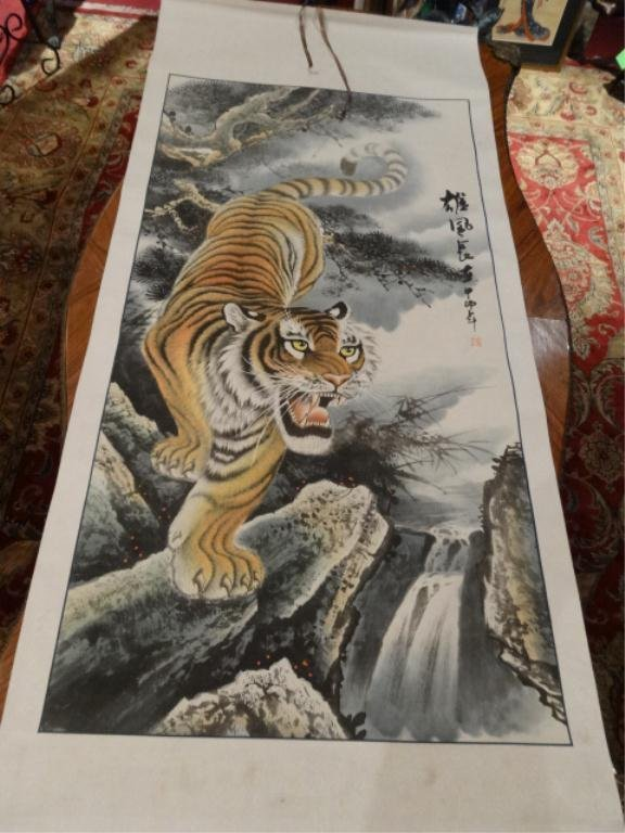 CHINESE SCROLL, TIGER, WITH CHOPMARK SIGNATURE, APPROX
