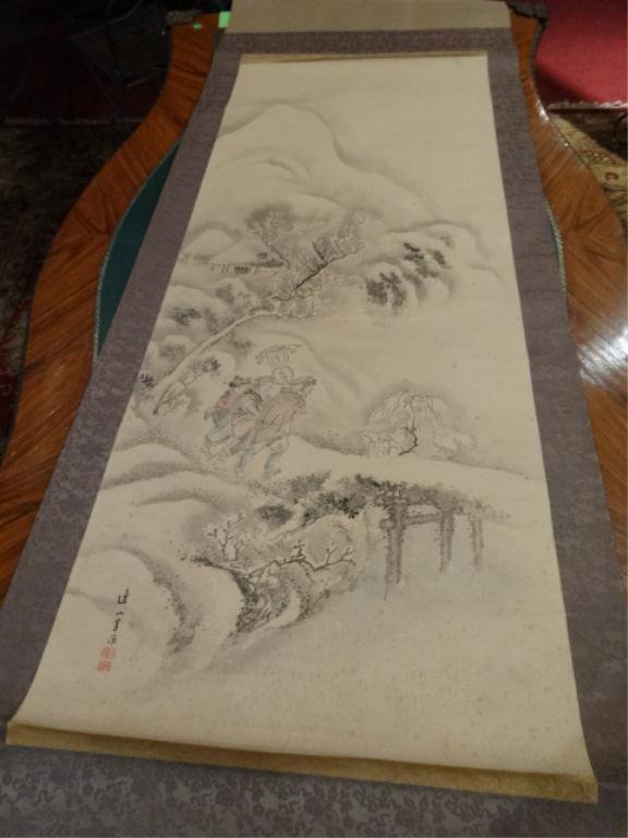 CHINESE SCROLL, SNOWY LANDSCAPE, WITH CHOPMARK SIGNATUR