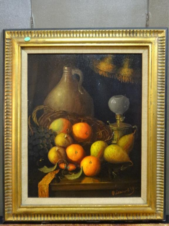 OIL PAINTING ON CANVAS, STILL LIFE WITH FRUIT, SIGNED L