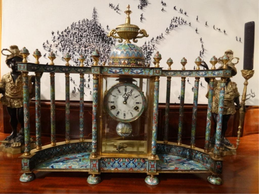 FRENCH CHAMPLEVE ENAMEL MANTLE CLOCK WITH BALUSTRADES,