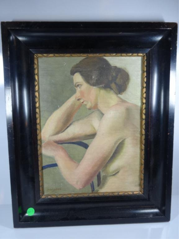 OIL PAINTING ON CANVAS, NUDE WOMAN SITTING ON A
