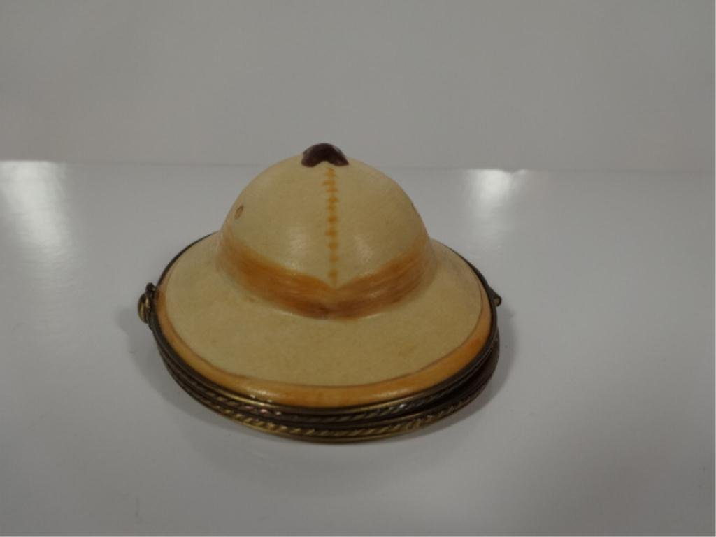 LIMOGES FRANCE HANDPAINTED BOX, IN THE FORM OF A HAT,