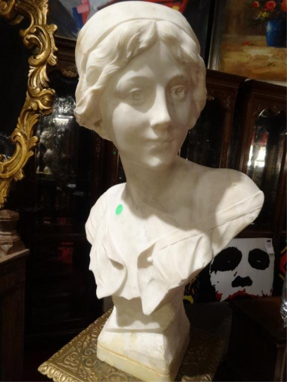 """MARBLE BUST OF A YOUNG WOMAN, APPROX 21.5""""H, SKU175.27"""