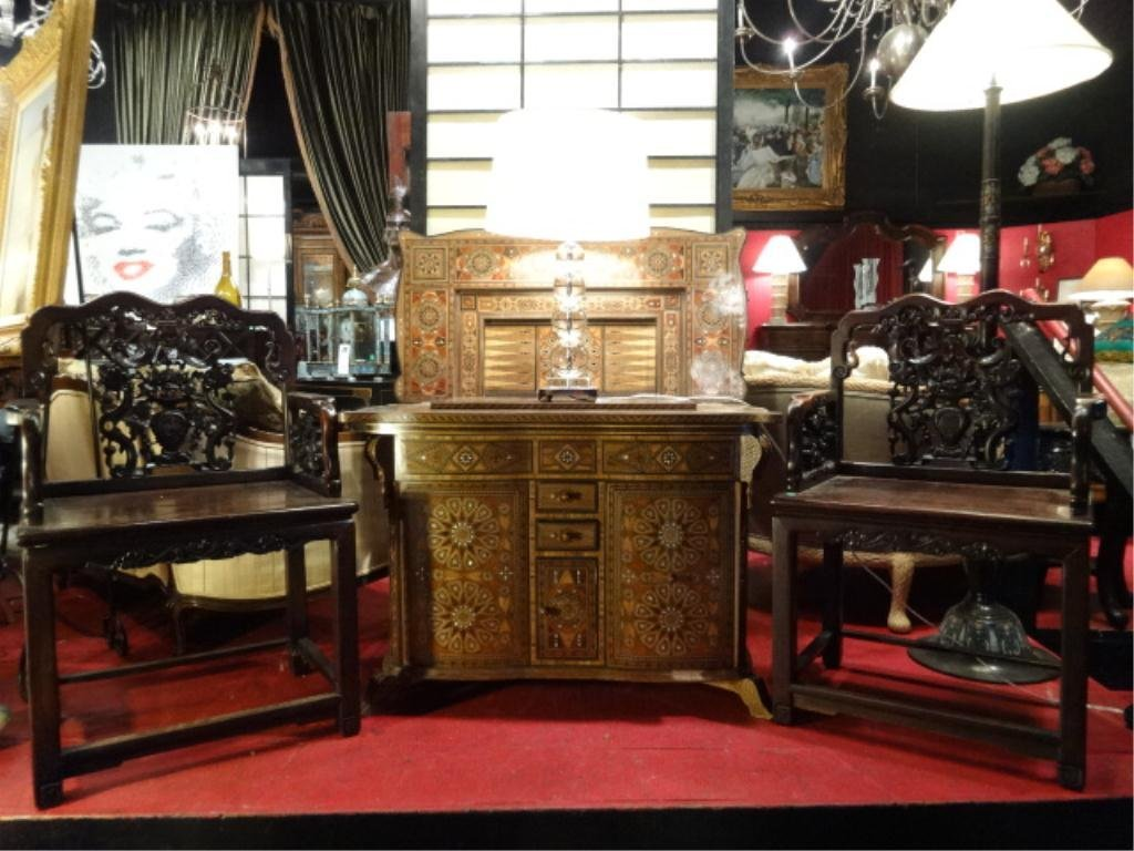 PAIR 19th C. CHINESE ROSEWOOD THRONE CHAIRS,