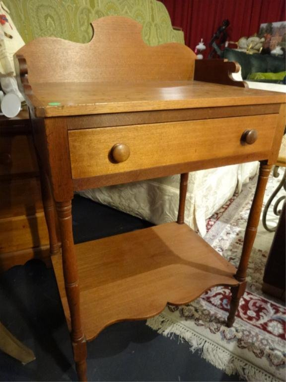 ANTIQUE CHERRY WASHSTAND WITH SINGLE DRAWER, APPROX