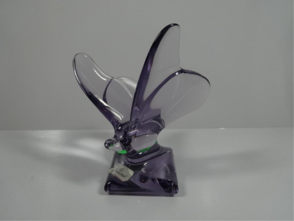 RETIRED BACCARAT CRYSTAL BUTTERFLY, PURPLE, SIGNED