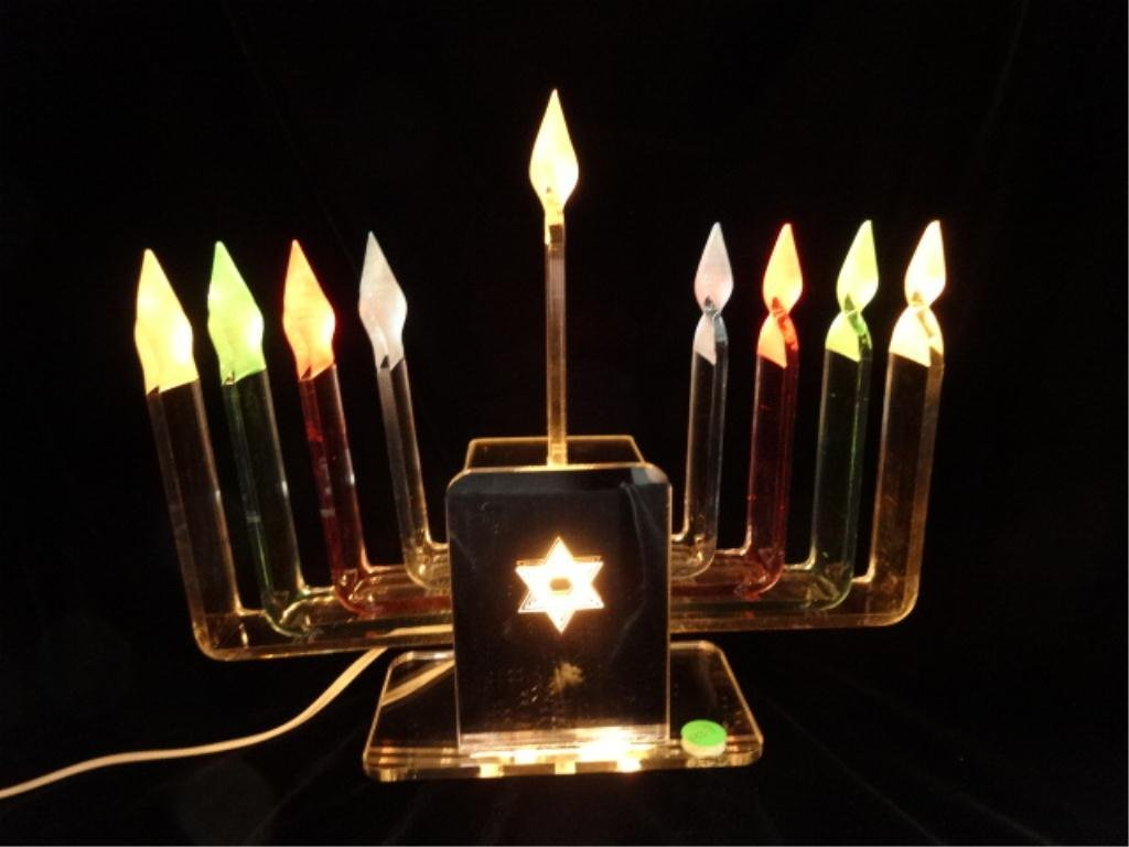 LUCITE & CHROME MENORAH WITH MULTICOLOR DISPLAY, APPROX