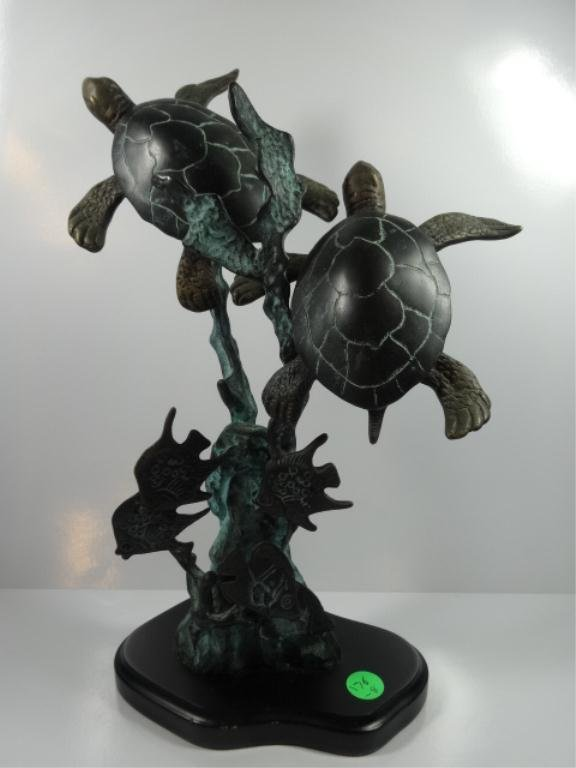 """BRONZE SCULPTURE, TWO SEA TURTLES, APPROX 13""""H,"""