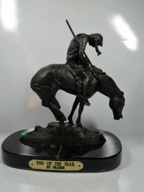 """BRONZE SCULPTURE, INDIAN RIDING HORSE, """"END OF THE"""