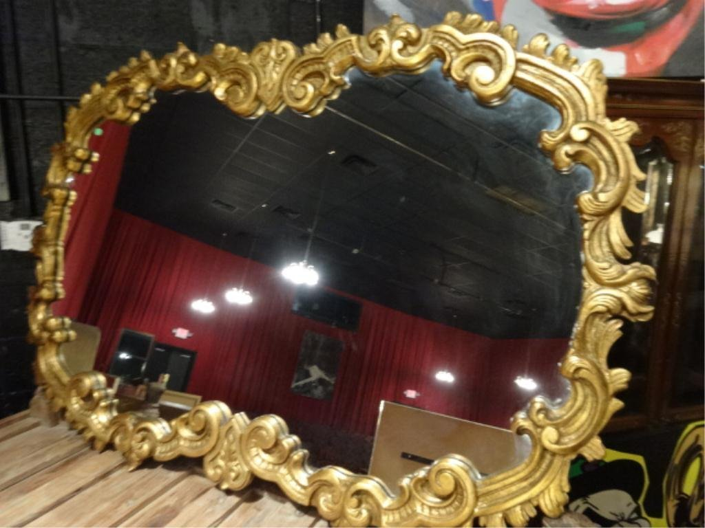 LARGE ORNATE GOLD FINISH CARVED WOOD MIRROR, APPROX 4'