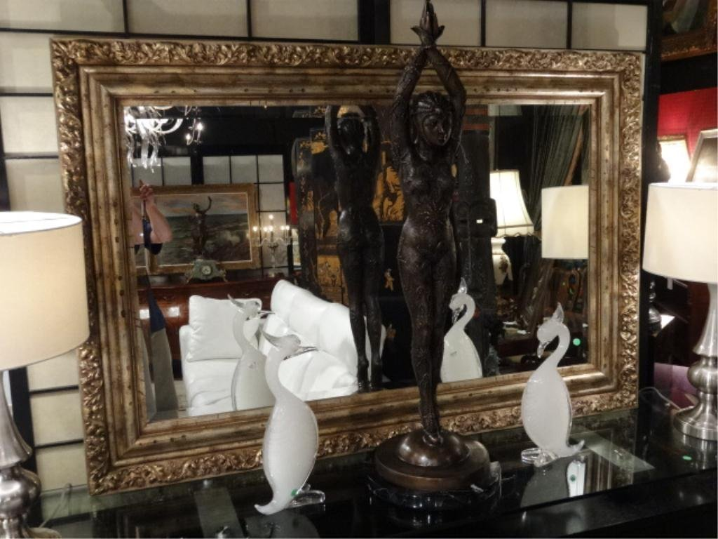 LARGE ORNATE SILVER FINISH MIRROR, APPROX 5' X3',