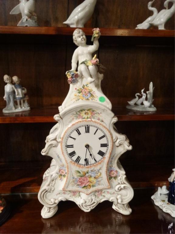 ITALIAN PORCELAIN CLOCK, BY CAVALLI NUOVA ANGARANNO,