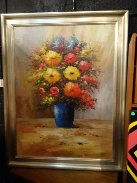 HUGE OIL PAINTING ON CANVAS, STILL LIFE OF FLOWERS,