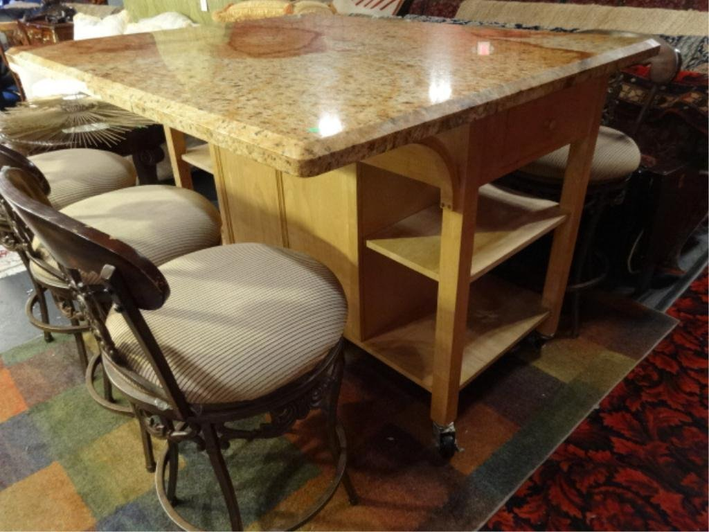 GRANITE TOP KITCHEN ISLAND WITH BAR OVERHANG, LOWER 2